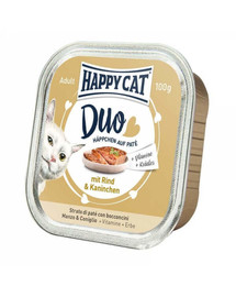 HAPPY CAT Duo set, Hovädzie a králik 100 g