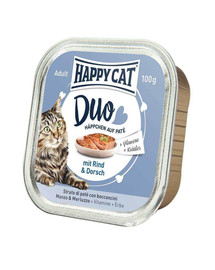 HAPPY CAT Duo set, Hovädzie a treska 100 g