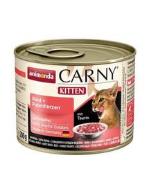 ANIMONDA Carny Kitten hovädzina a morčacie srdiečka 200g