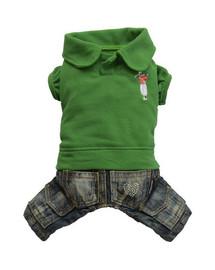 DOGGY DOLLY Komplet jeans s polokošeľou, zelený, XL 33-35 cm/51-53 cm