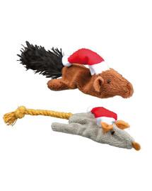 TRIXIE Sada vianočných hračiek - myš a veverička 14-17 cm 8 ks / balík