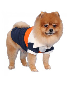 DOGGY DOLLY Pruhovaný fleecový sveter, krémová / oranžová / modrá, S 23-25 cm/36-38 cm