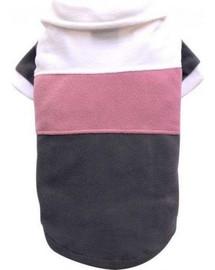 DOGGY DOLLY Sveter pruhovaný fleece, biela / ružová / šedá L 31-33 cm/46-48 cm