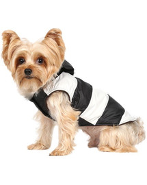 Doggy Dolly Pruhovaná bunda s kožušinovou kapucňou, čierno / biela, M 28-30 cm/41-43 cm