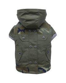 DOGGY DOLLY Kabátik s kapucňou, zelený/moro, XXL 36-38 cm/56-58 cm