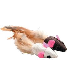 ZOLUX Hračka pre mačky  - 2 myši s perím 5 cm