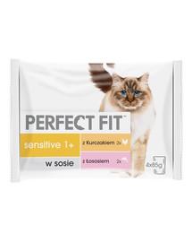 PERFECT FIT Sensitive 1+  pre mačky, kuracie mäso a losos 4x85 g