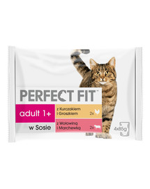 PERFECT FIT Cat Adult 1+ mäsová kapsička 4 x 85 g