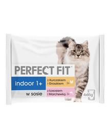 PERFECT FIT Indoor 1+ krmivo pre mačky, kuracie mäso, losos 4x85 g