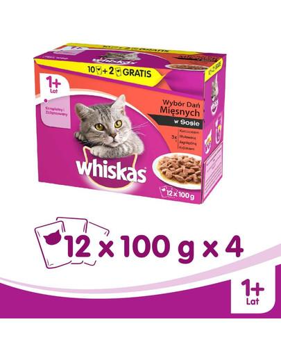 Whiskas Mäsový pokrm v omáčke 12x0.1Kg x4